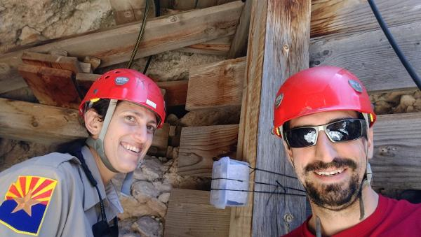 Two scientists conducting cave air carbon dioxide research at Kartchner Caverns State Park