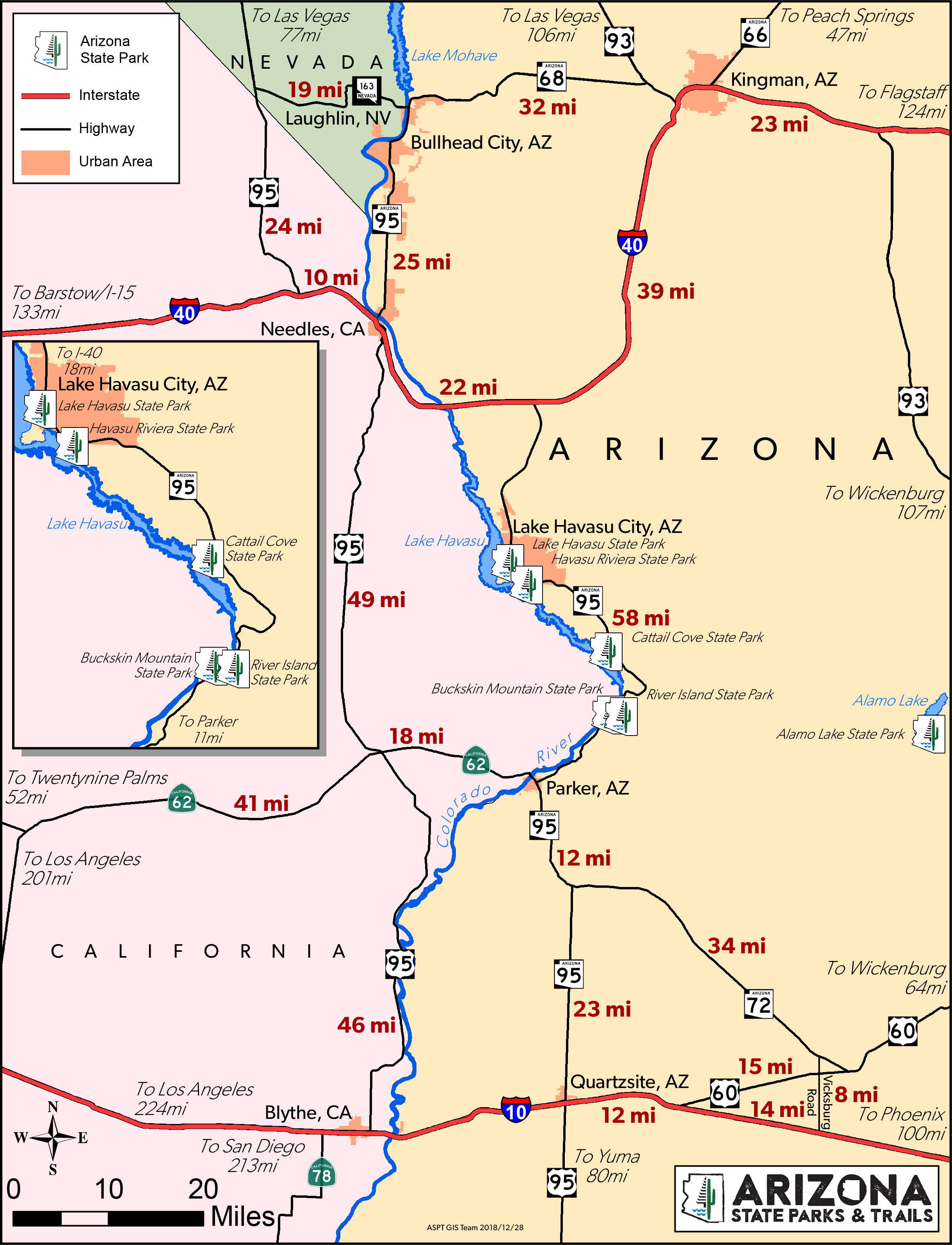 A Map Of Arizona State.Colorado River Map Arizona State Parks