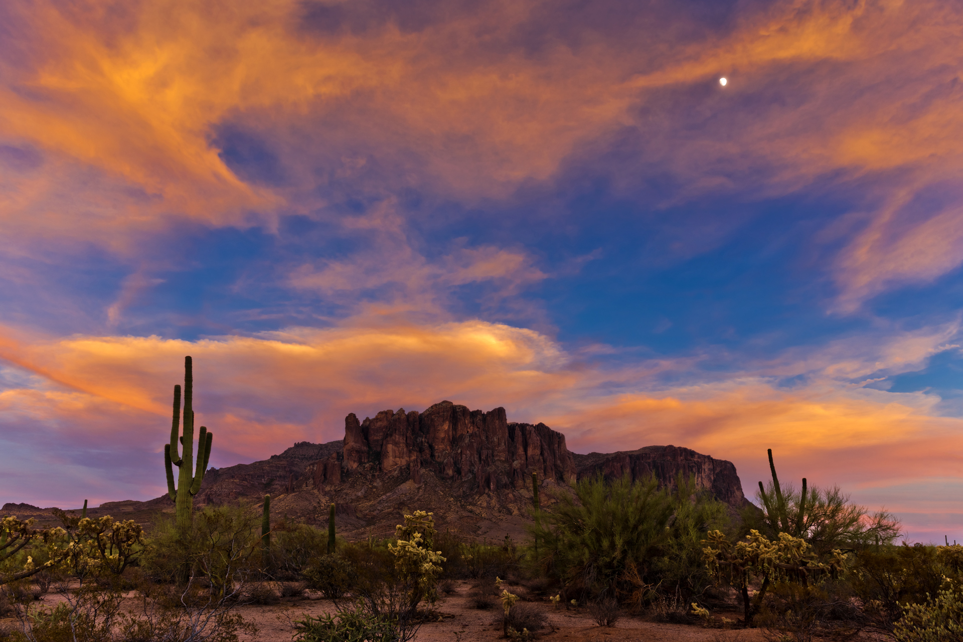 Sunset over Lost Dutchman State Park near the Superstition Mountains