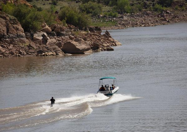 Water skiing and wakeboarding at Lyman Lake, AZ