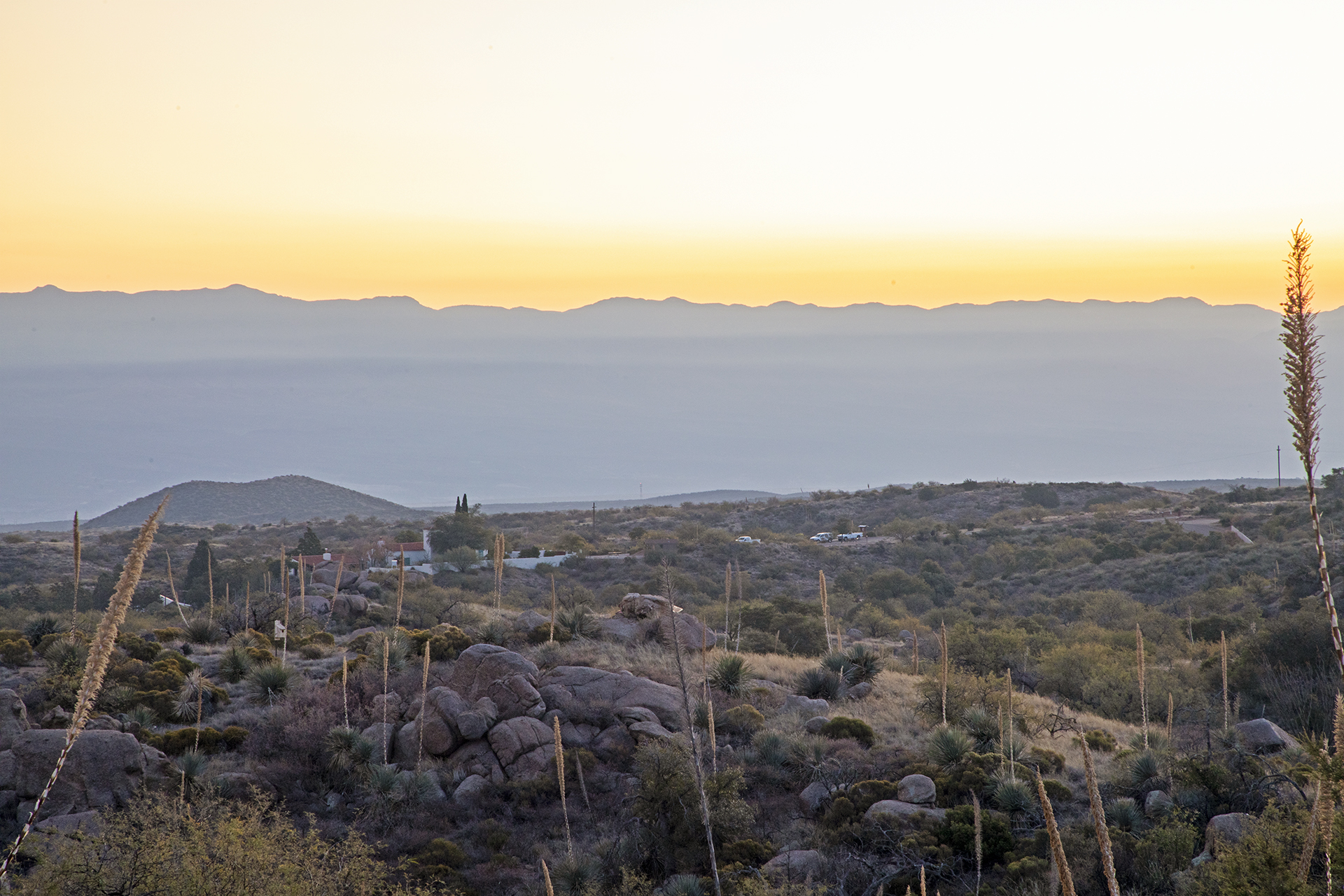 Sunset behind Kannally Ranch house at Oracle State Park.