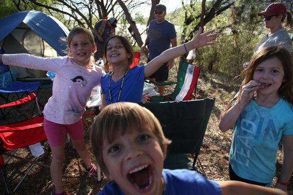 Kids having fun while camping at Patagonia Lake State Park
