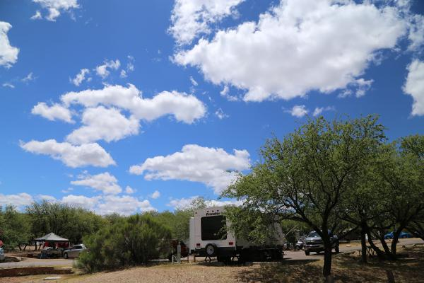 The bright blue sky over an RV at Patagonia Lake