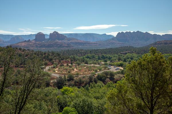 Red Rock State Park in Sedona with a stunning backdrop of red rocks overlooking the park. A great place to visit.