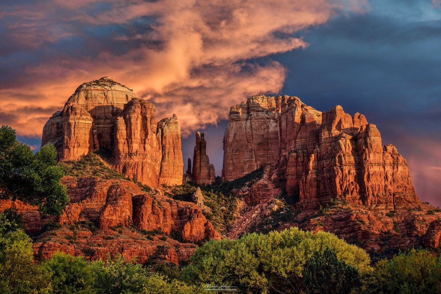 Sunset over the red rocks in Sedona, Arizona.