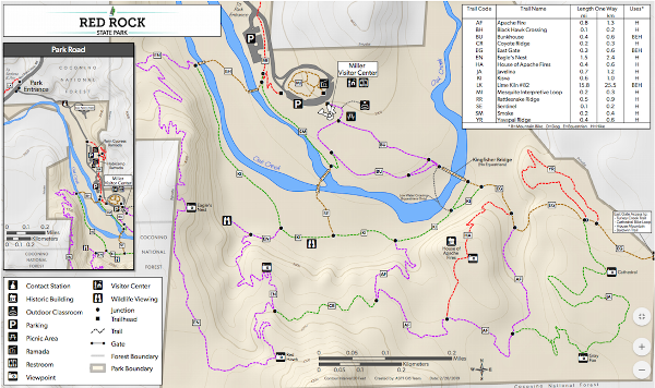 Red Rock State Park and Sedona area trail map