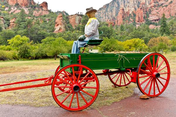 Wagon with scarecrow at Slide Rock state park