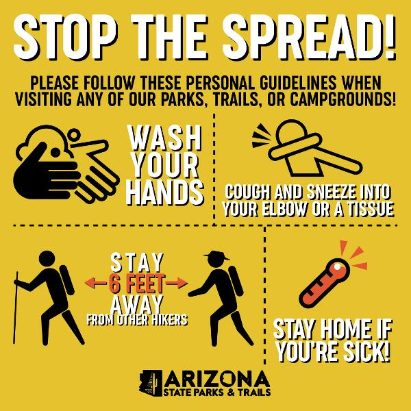 Infographic showing how to stop the spread of disease in parks.