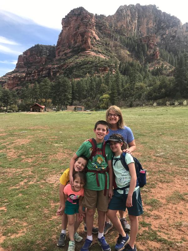 The Padgett family at Slide Rock State Park during the pandemic