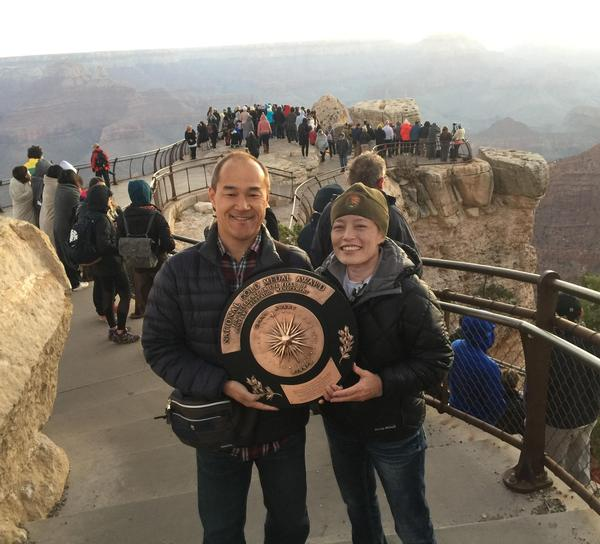 Japanese tourists show the Gold Medal spirit at Mather Point, Grand Canyon.