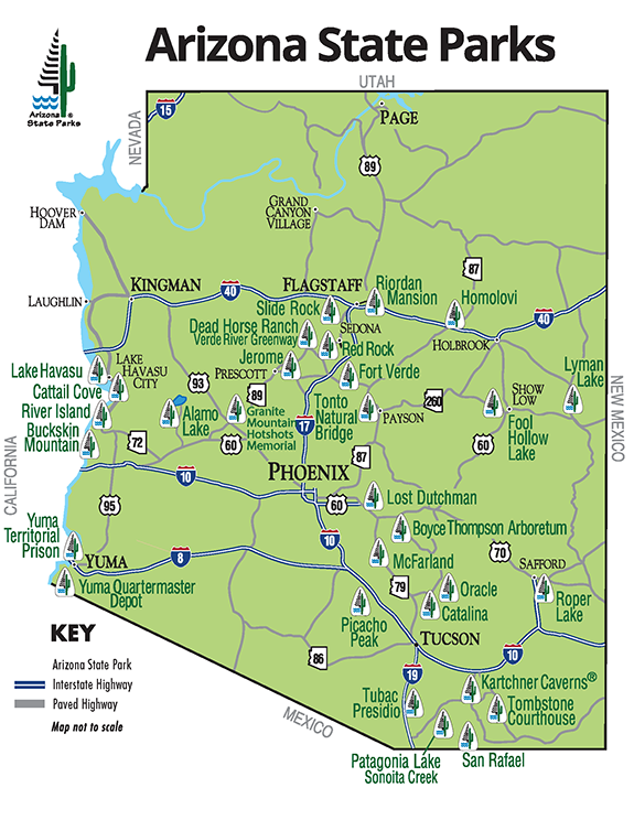A Map Of Arizona State.Arizona State Parks Map