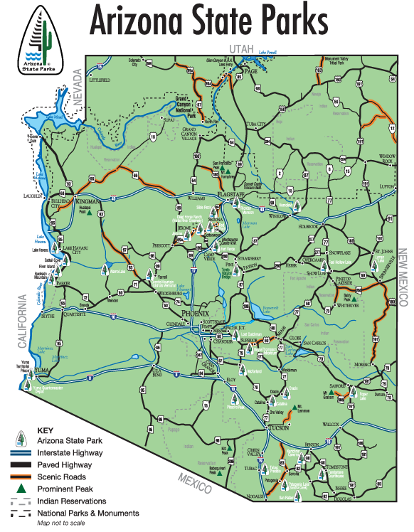 Map Of Arizona Nevada.Arizona State Parks Map