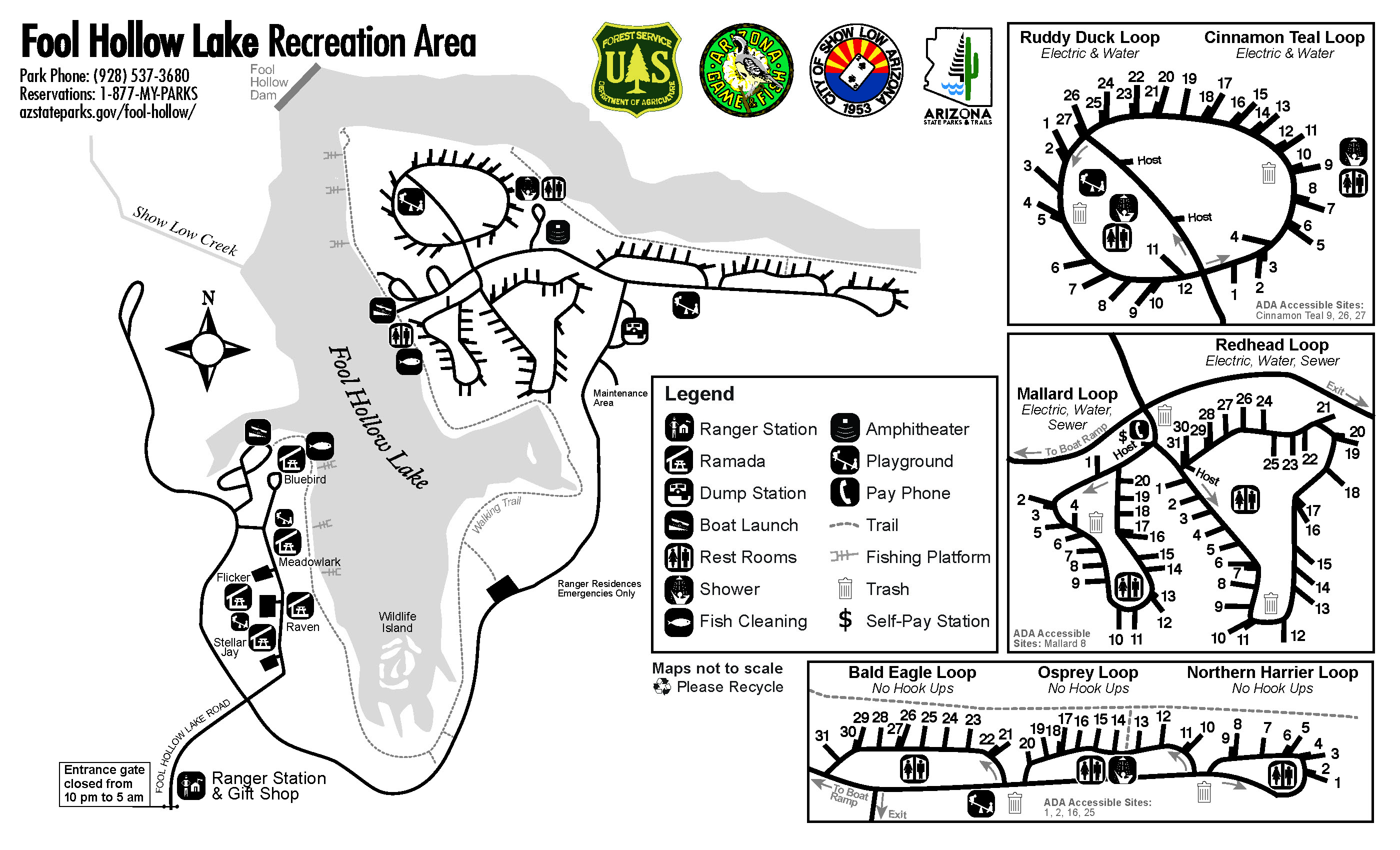 Fool Hollow Lake Park Map